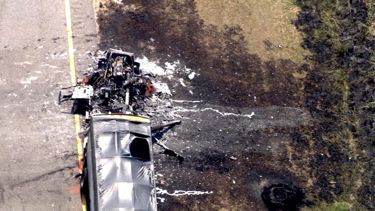 Picture from Chopper 11 HD of a crash on Interstate 95 near the South Carolina border.