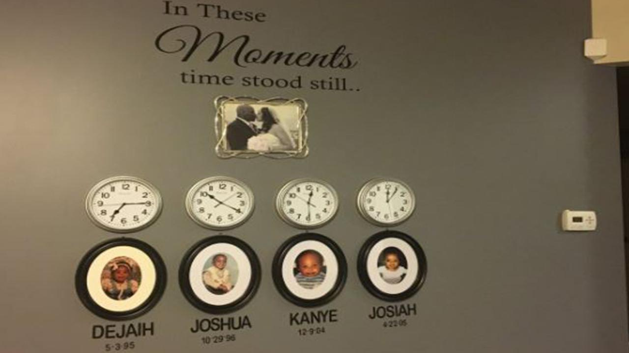 The installation features each childs name, birth date, and birth time
