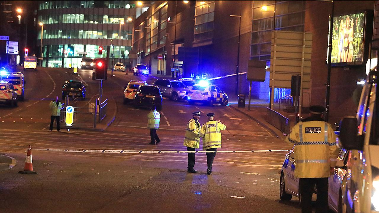 Police respond at Manchester Arena after reports of an explosion at the venue during an Ariana Grande gig in Manchester, EnglandAP