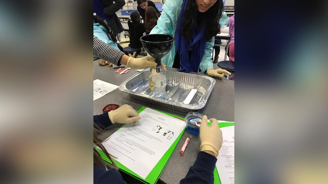 Women in Science performs fun experiments with elementary school girls in Wake County