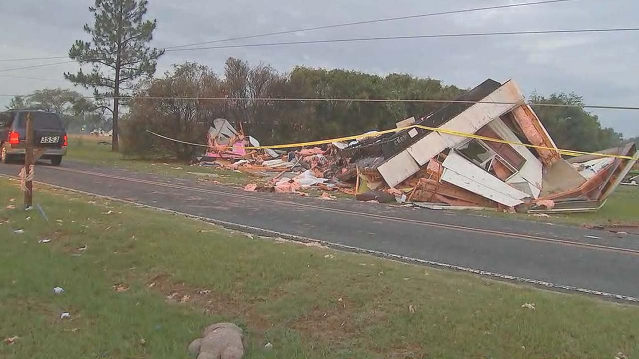 This mobile home was ripped apart when it flipped over
