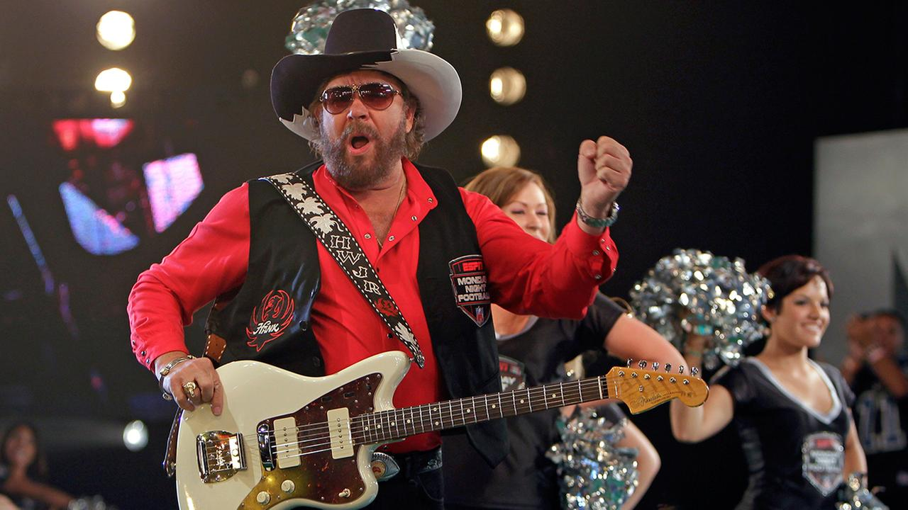 Hank Williams Jr. performs during the recording of a promo for NFL Monday Night Football in Winter Park, Fla., Thursday, July 14, 2011.