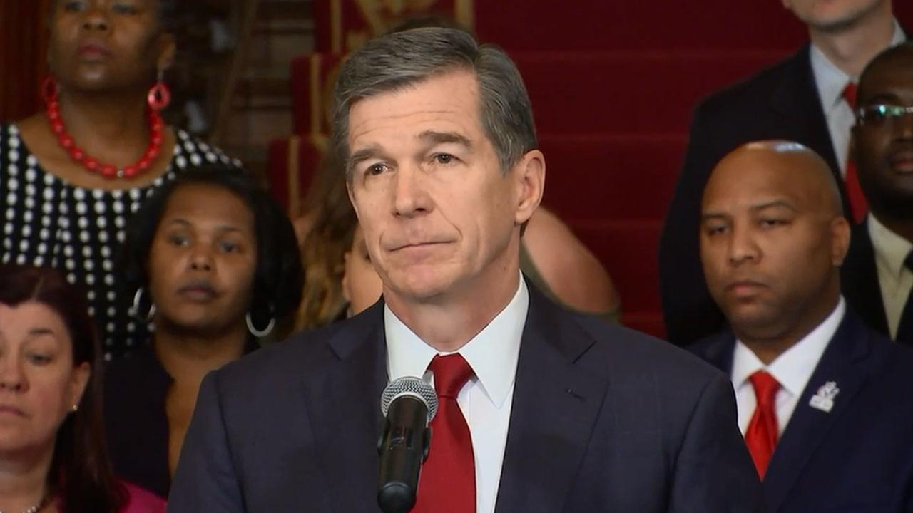 Gov. Roy Cooper during news conference at the Governors Mansion Monday