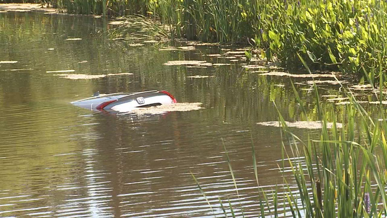 Car partially submerged