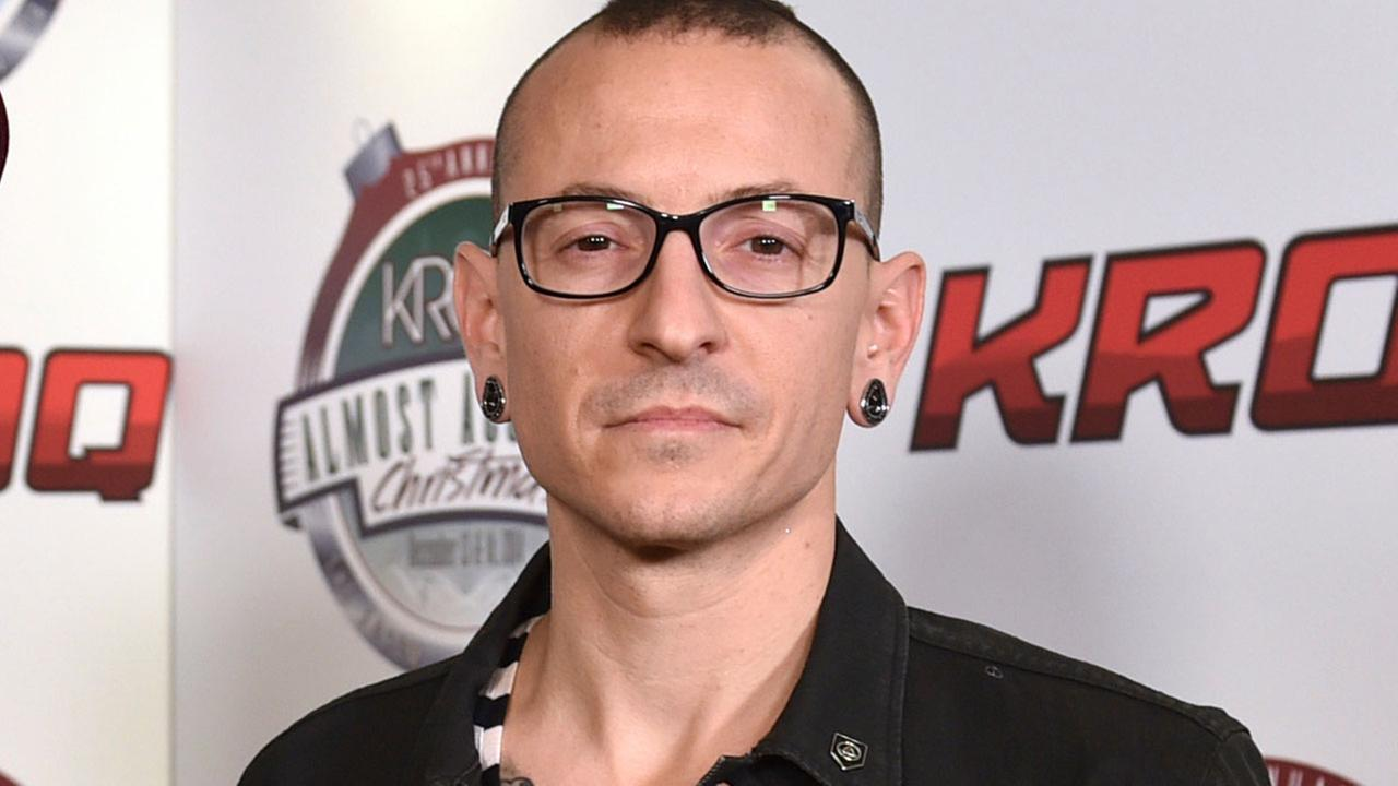 In this Dec. 13, 2014 file photo, Chester Bennington poses in the press room at the 25th annual KROQ Almost Acoustic Christmas in Inglewood, Calif.