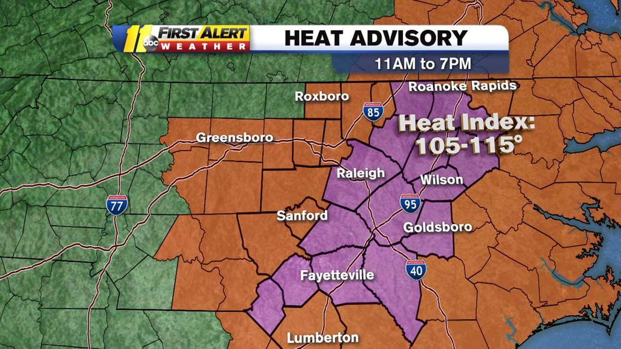 Heat advisory in effect until 7 p.m. Sunday for most of central North Carolina
