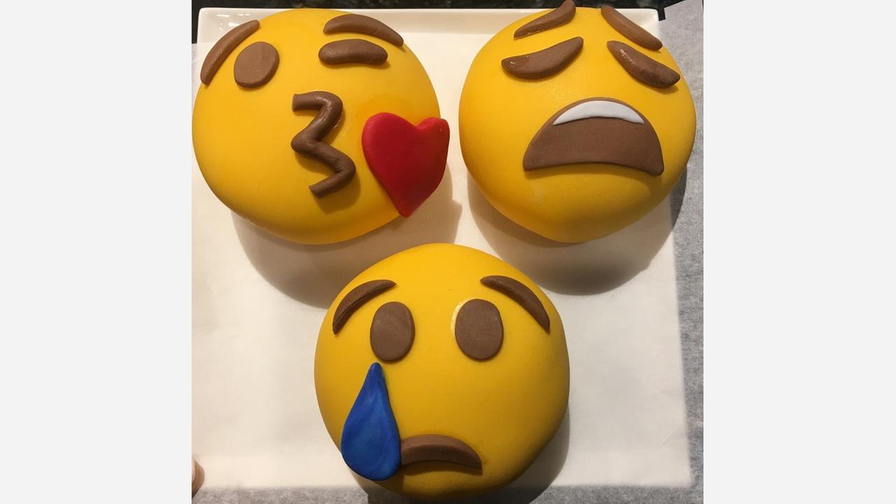 Barbara Gibbs shows off her emoji mini cakes