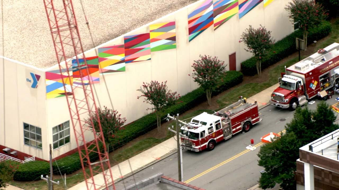Emergency responders at the scene of a hazmat spill at the Downtown YMCA in Durham.