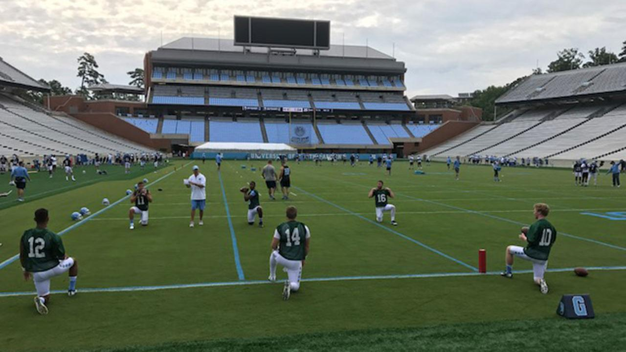 Football camps kick off at Duke University, North Carolina Central University, UNC Chapel Hill, and North Carolina State University.