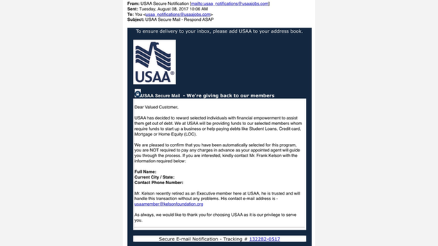 Scam targets usaa customers abc11 usaa says this email is a fake and an attempt to get you to give away reheart Choice Image