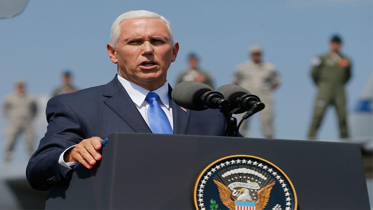 U.S. Vice President Mike Pence addresses servicemen participating in the Noble Partner 2017
