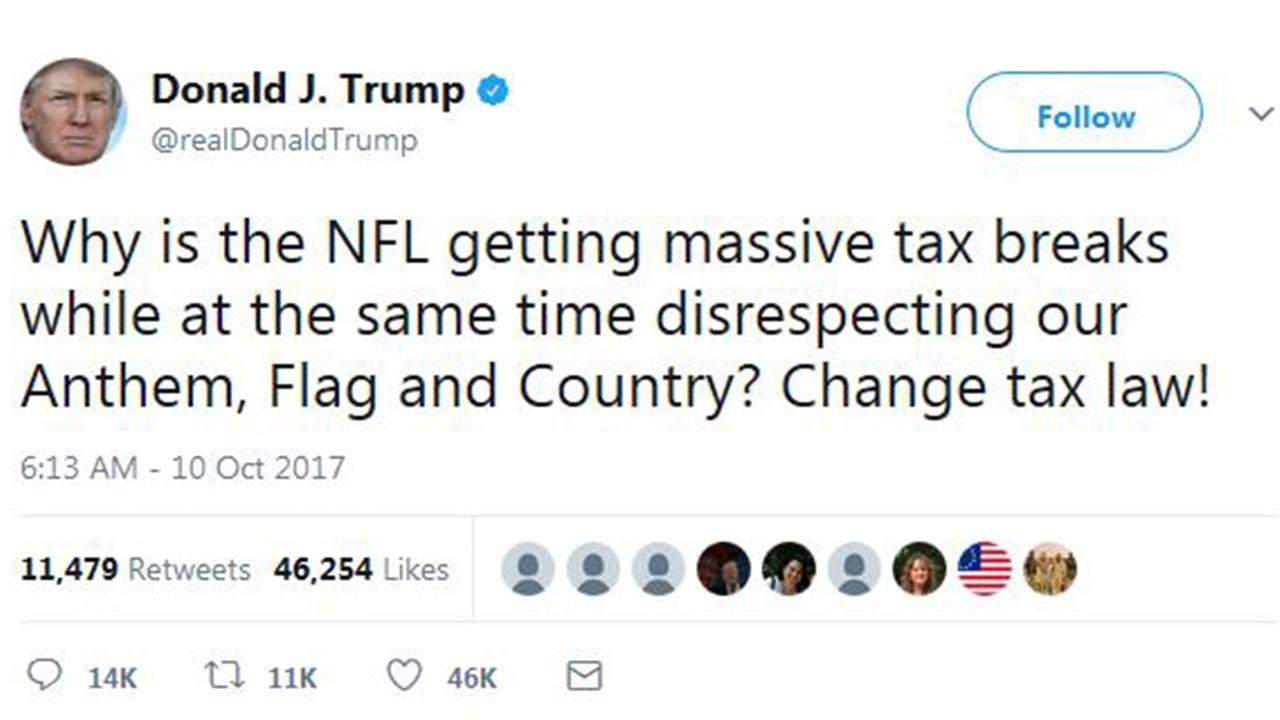Trump says US should change tax law to punish NFL