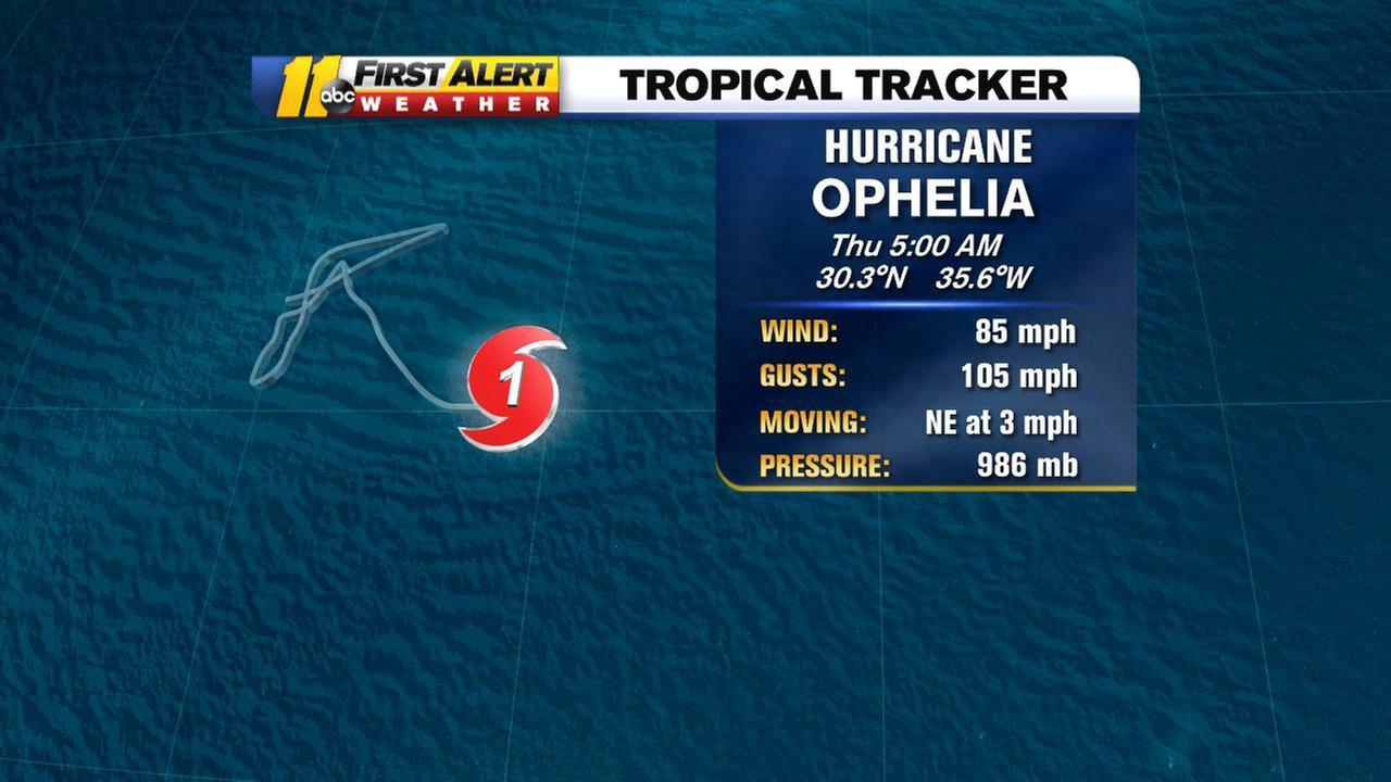 Category 1 Hurricane Ophelia grows stronger in Atlantic Ocean