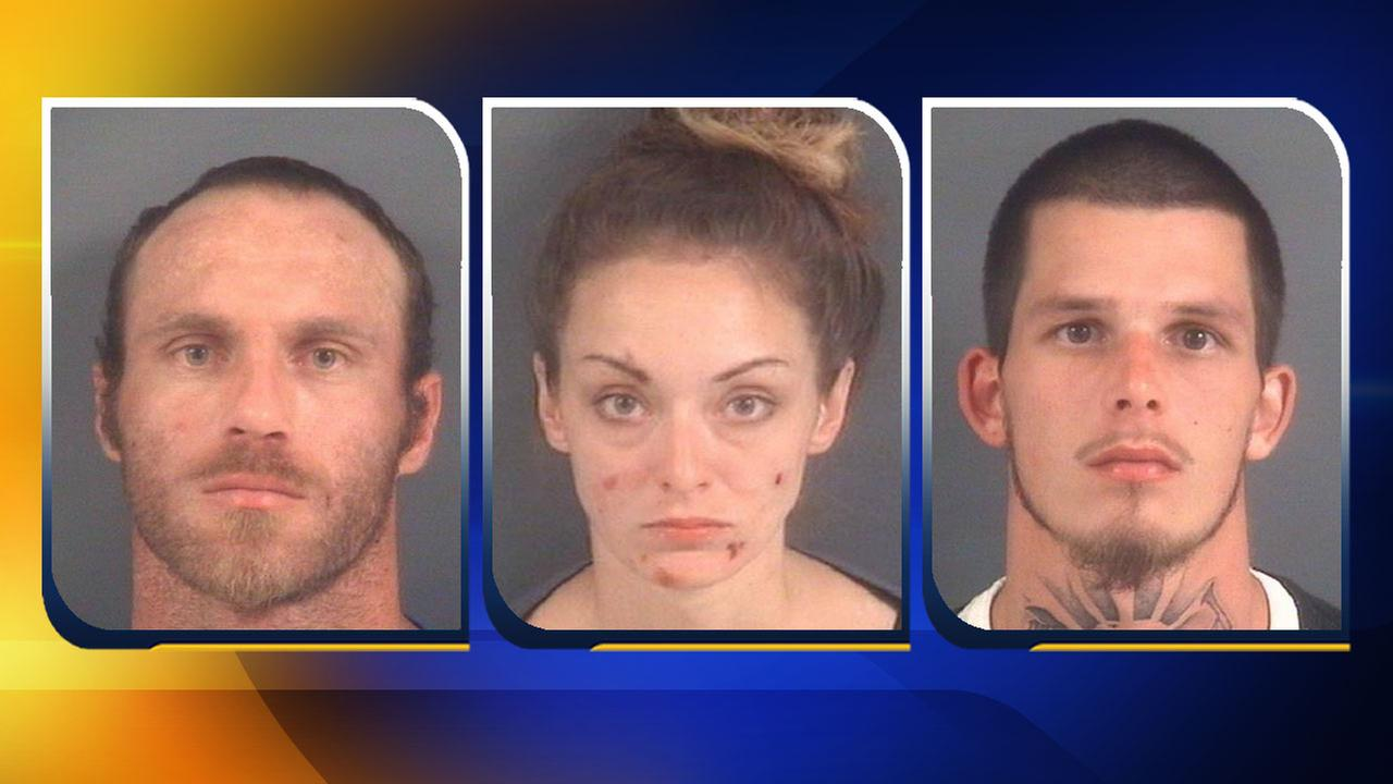 Police arrested 29-year-old Robert Len Harr, 26-year-old Ashley Marie Fisher, and 25-year-old Randy Lee Holmes Jr.