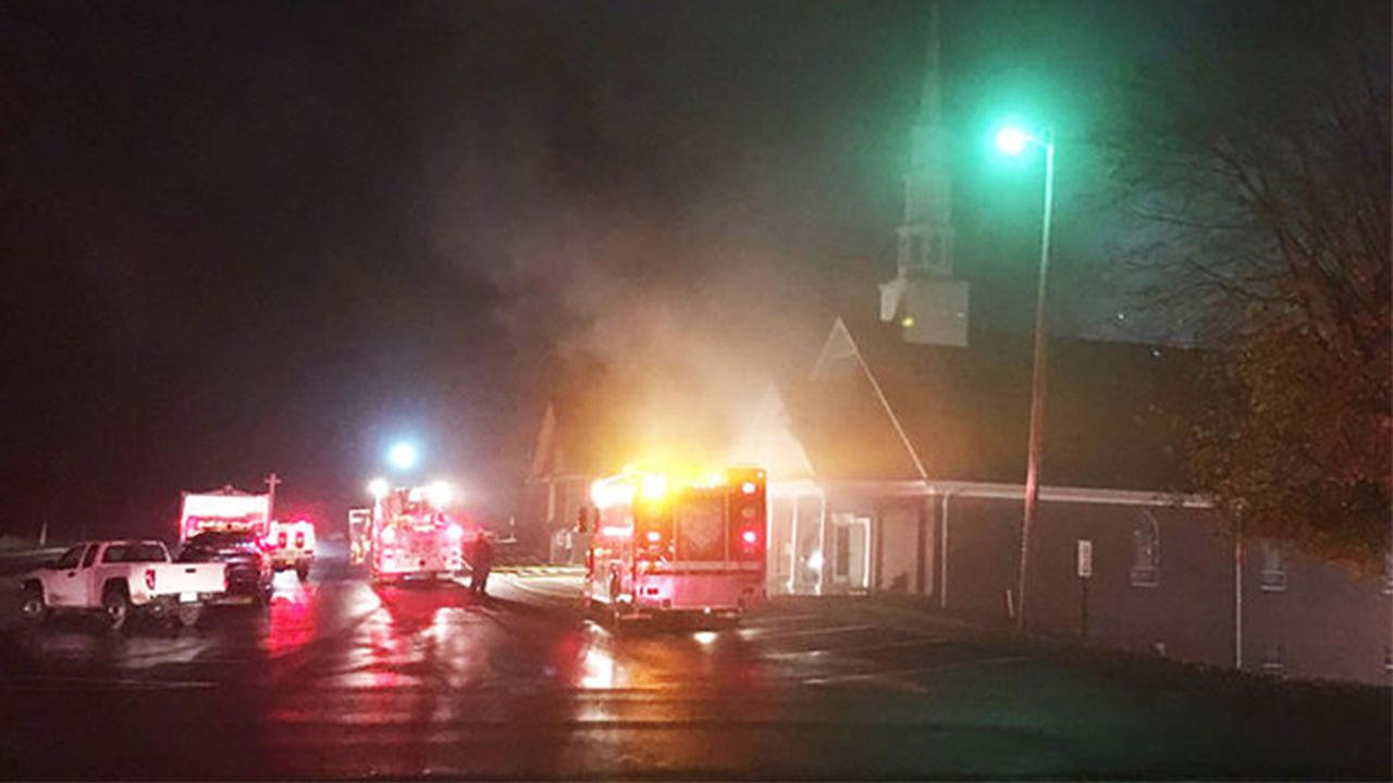 Providence Baptist Church on fire