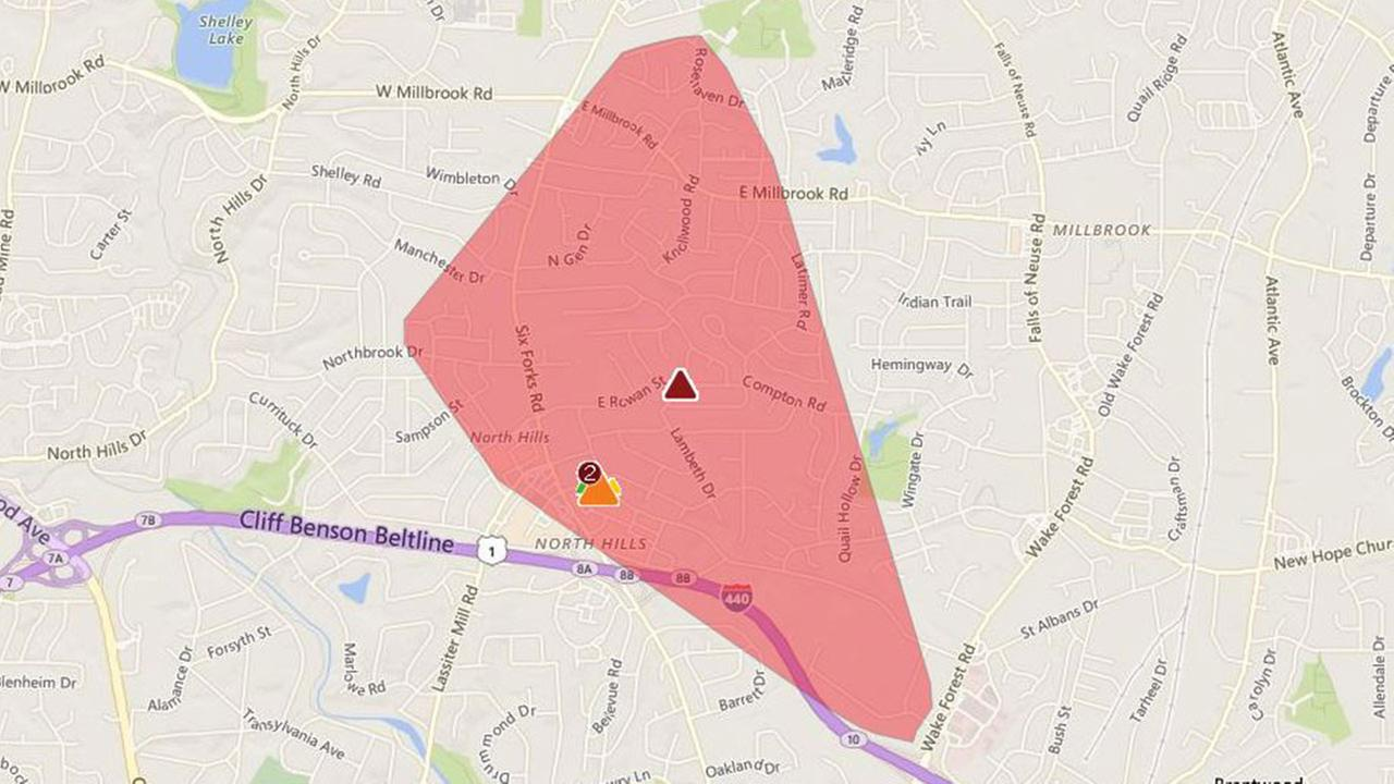 Duke Energy outage map of North Hills in Raleigh