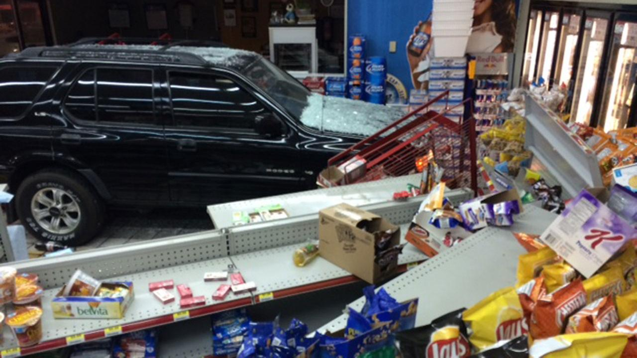 Authorities in Johnston County say an SUV crashed into a convenience store at a BP gas station off US 70 in Pine Level early Wednesday morning