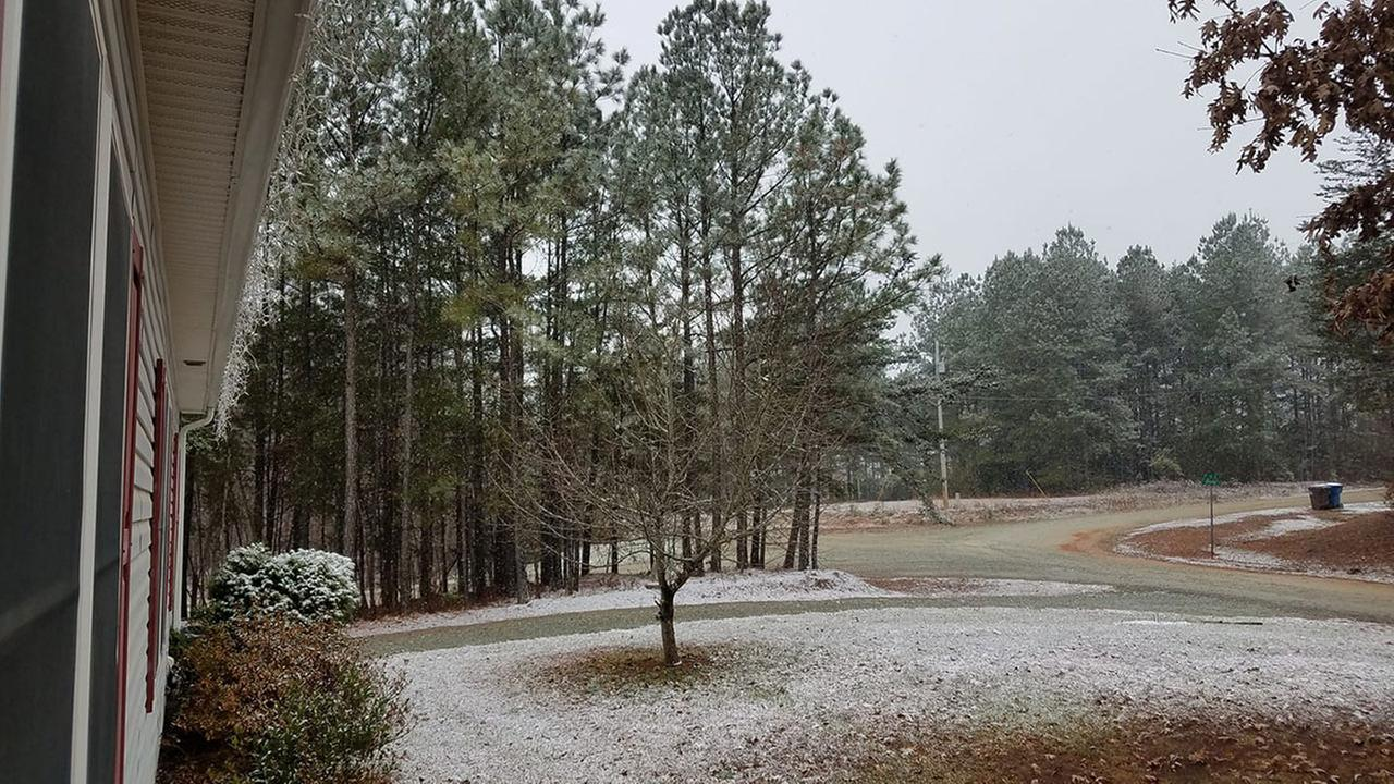 Snow in Roxboro, North Carolina from ABC11 eyewitness viewers