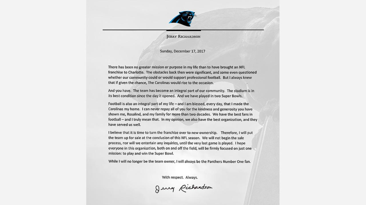 Embroiled in a sexual misconduct investigation, Panthers owner Jerry Richardson announced Sunday he will put the team up for sale.