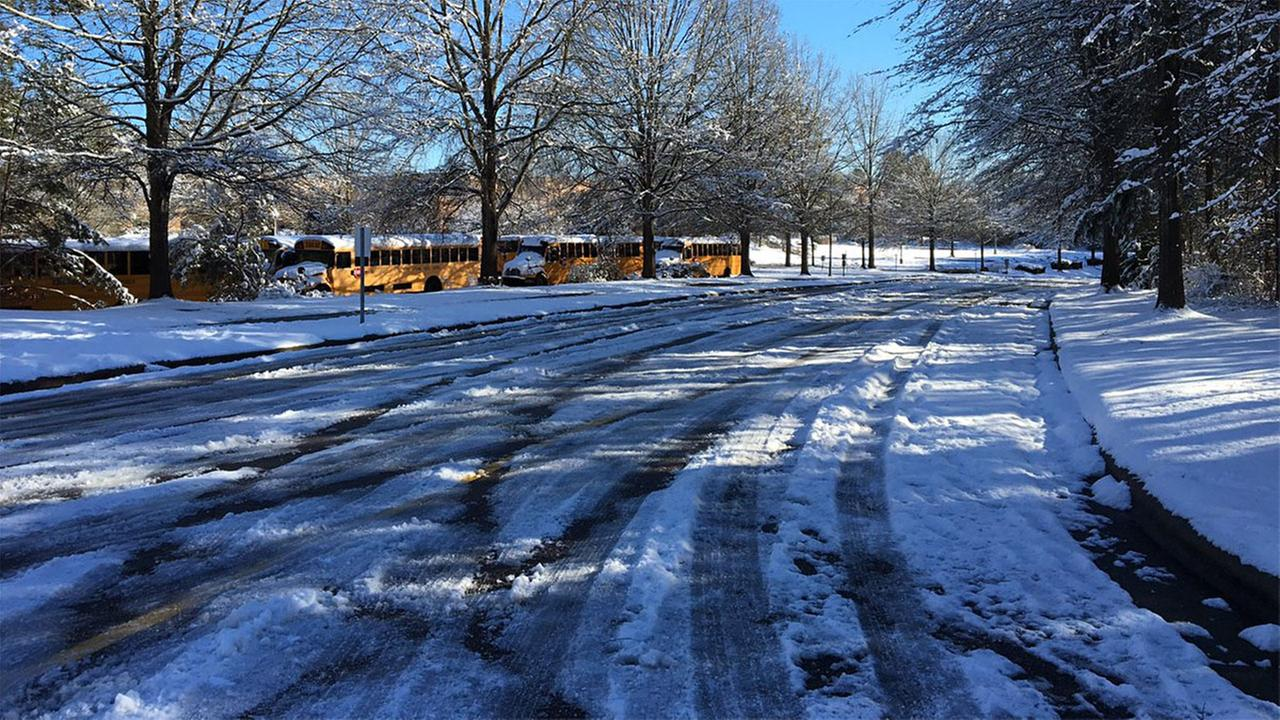 Snow and ice are seen at Leesville Road High School.