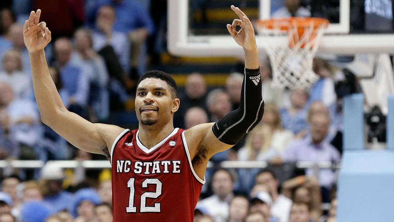 NC States Al Freeman celebrates as the game ends. Freeman hit all seven of his three-point attempts and had a career-high 29 points.