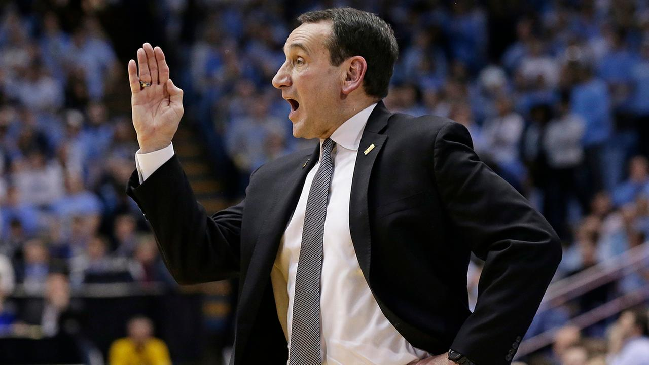Duke head coach Mike Krzyzewski directs his players during the second half.Gerry Broome