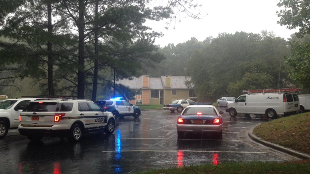 Raleigh police were on the scene of shooting Wednesday afternoon at an apartment complex in the 3100 block of Exacta Lane.