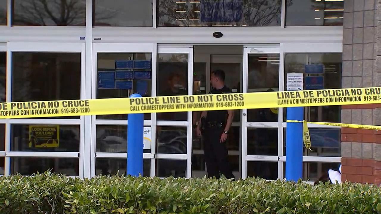 Police respond to a double shooting at a Durham Walmart on Wednesday.