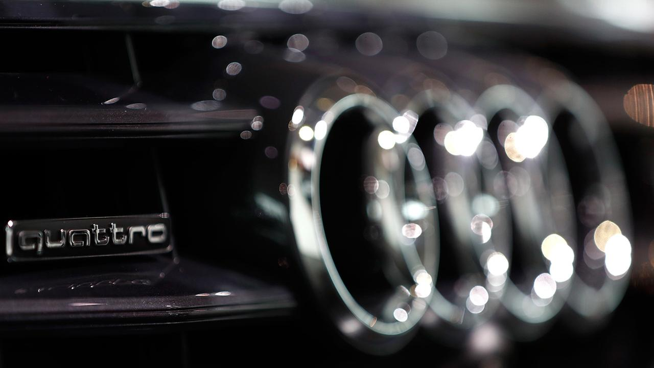 The logo of German car producer Audi is pictured on a Audi A6 50 quattro.