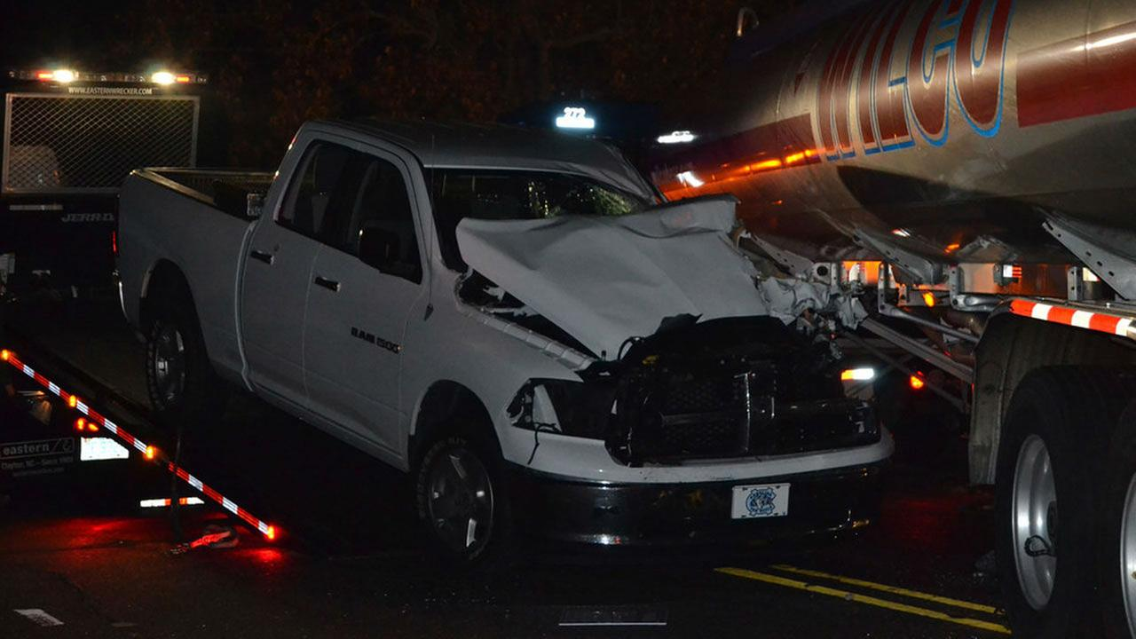 Officials said the driver of the pick-up truck ran into the back of the tanker truck hauling diesel fuel on NC-39 in Selma Tuesday night.