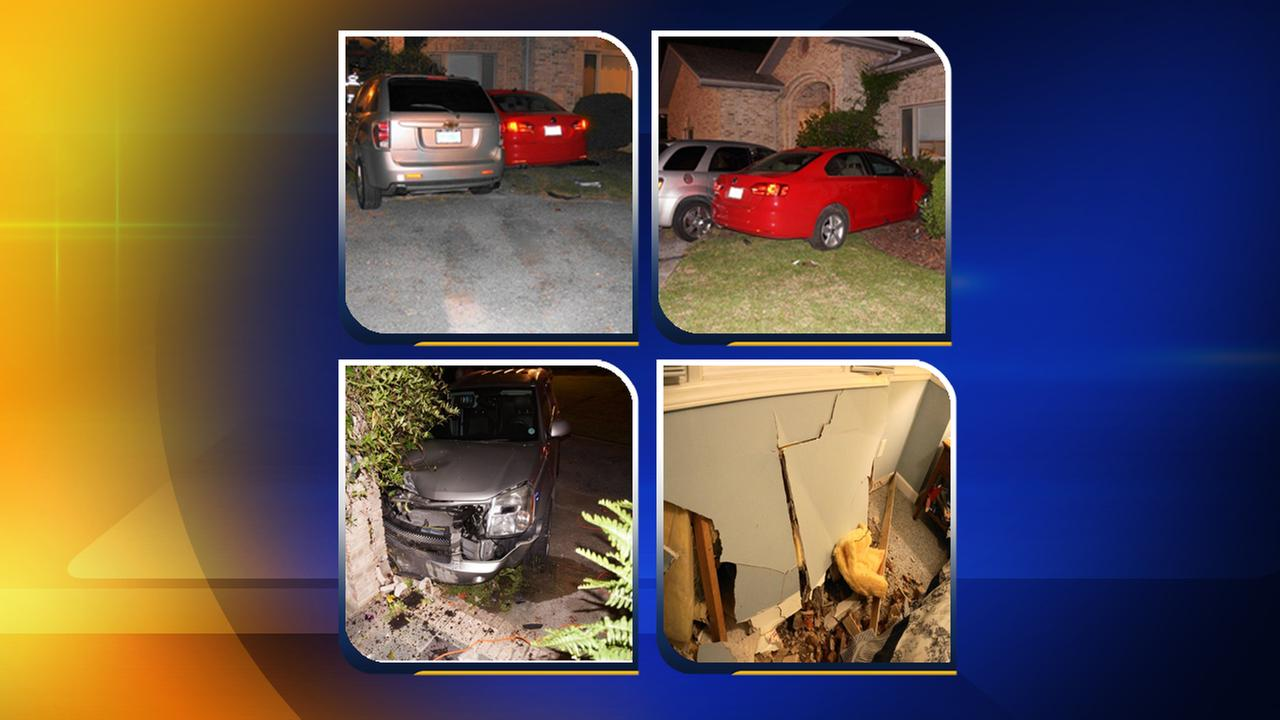 Officials say a red car came off the road and hit a silver car which was facing right in the driveway. The car then hit the house sending bricks into a bedroom.