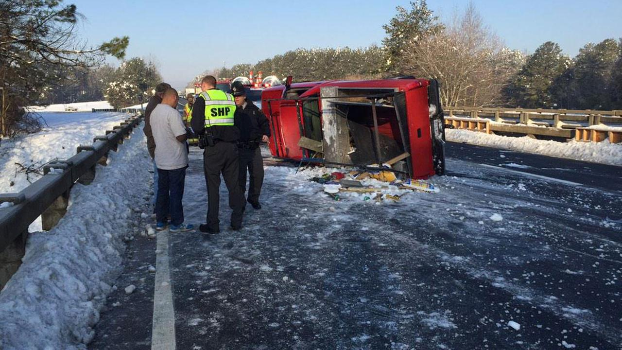 Overturned truck on I-85 at US-70 in Orange County