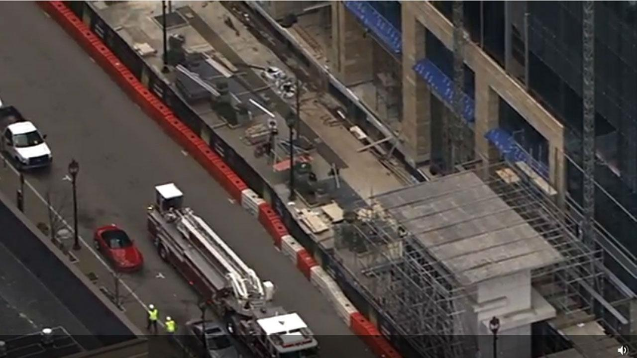 Scaffolding collapse at construction site in the 500 block of Fayetteville Street in downtown Raleigh.Chopper11 HD