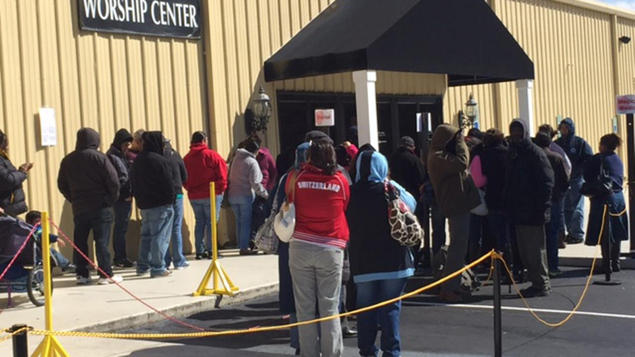 People lined up outside of the Living Word Church for a free medical clinic on Saturday
