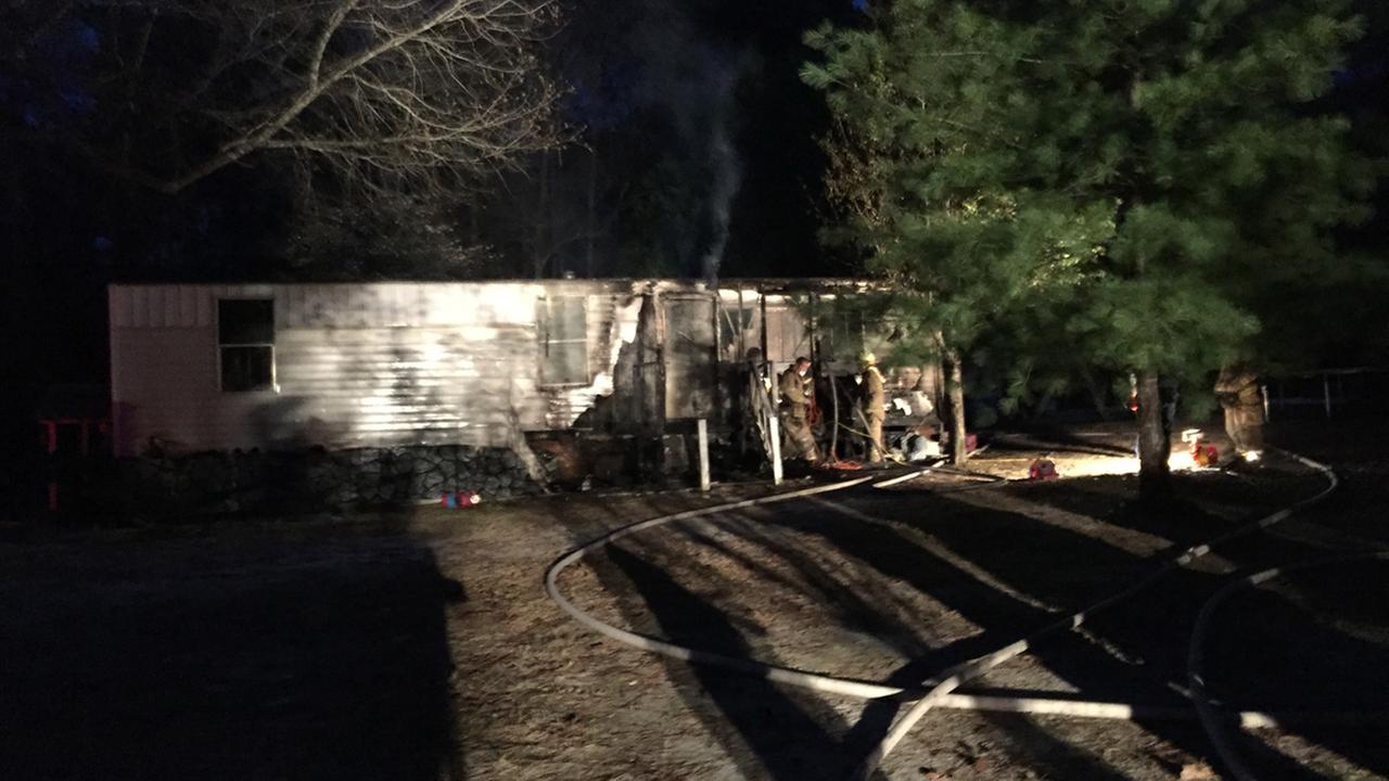 A fire destroyed a mobile home in Benson on Sunday