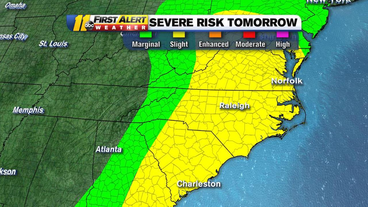 Meteorologist Steve Stewart said our viewing area is under a Slight risk for some severe weather on Monday