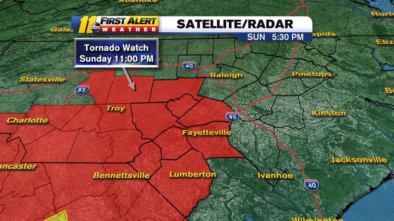 A tornado watch is in effect for several NC counties until 11 p.m.