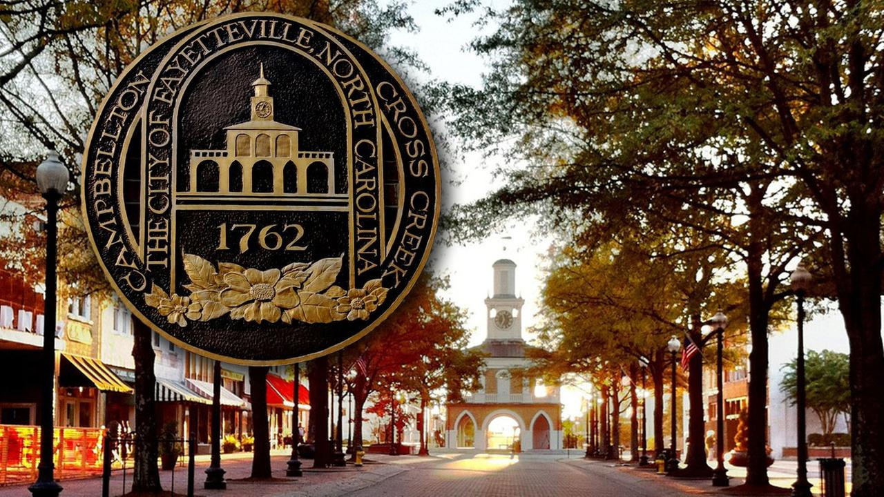 Downtown Fayetteville with City of Fayetteville seal