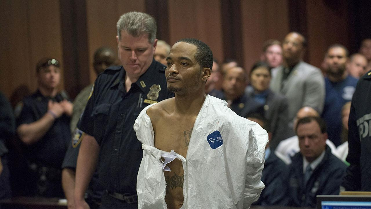 Demetrius Blackwell appears in court for his arraignment Sunday, May 3, 2015, in the Queens borough of New York. Blackwell is accused of shooting a New York City police officer