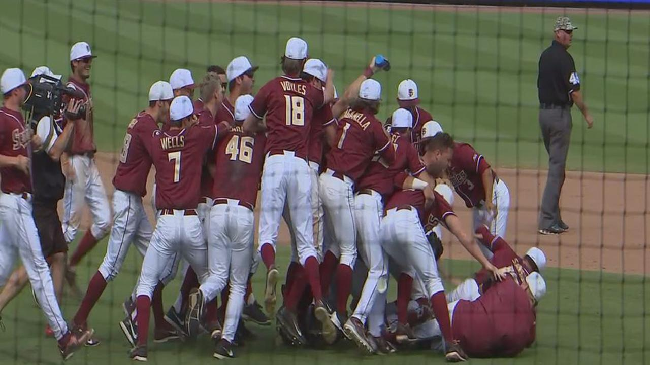 Florida State celebrates their win over NC State