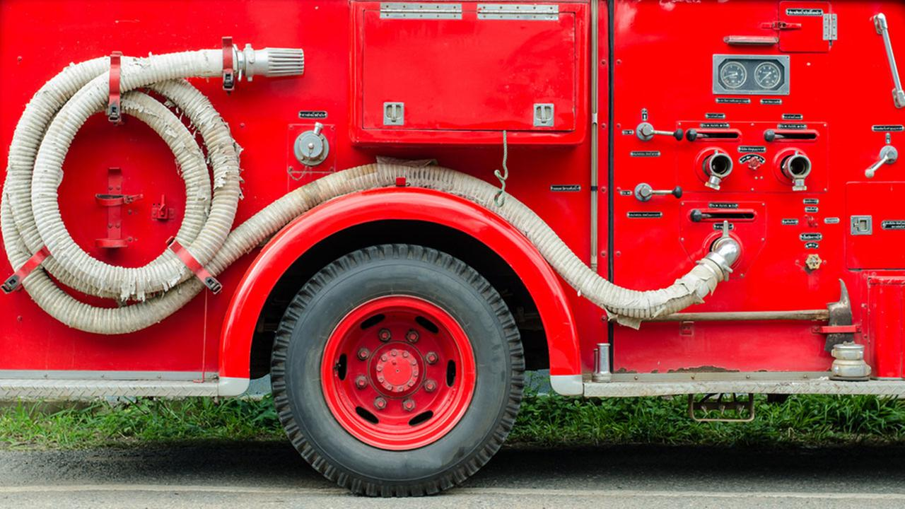 Close up image of a fire truck
