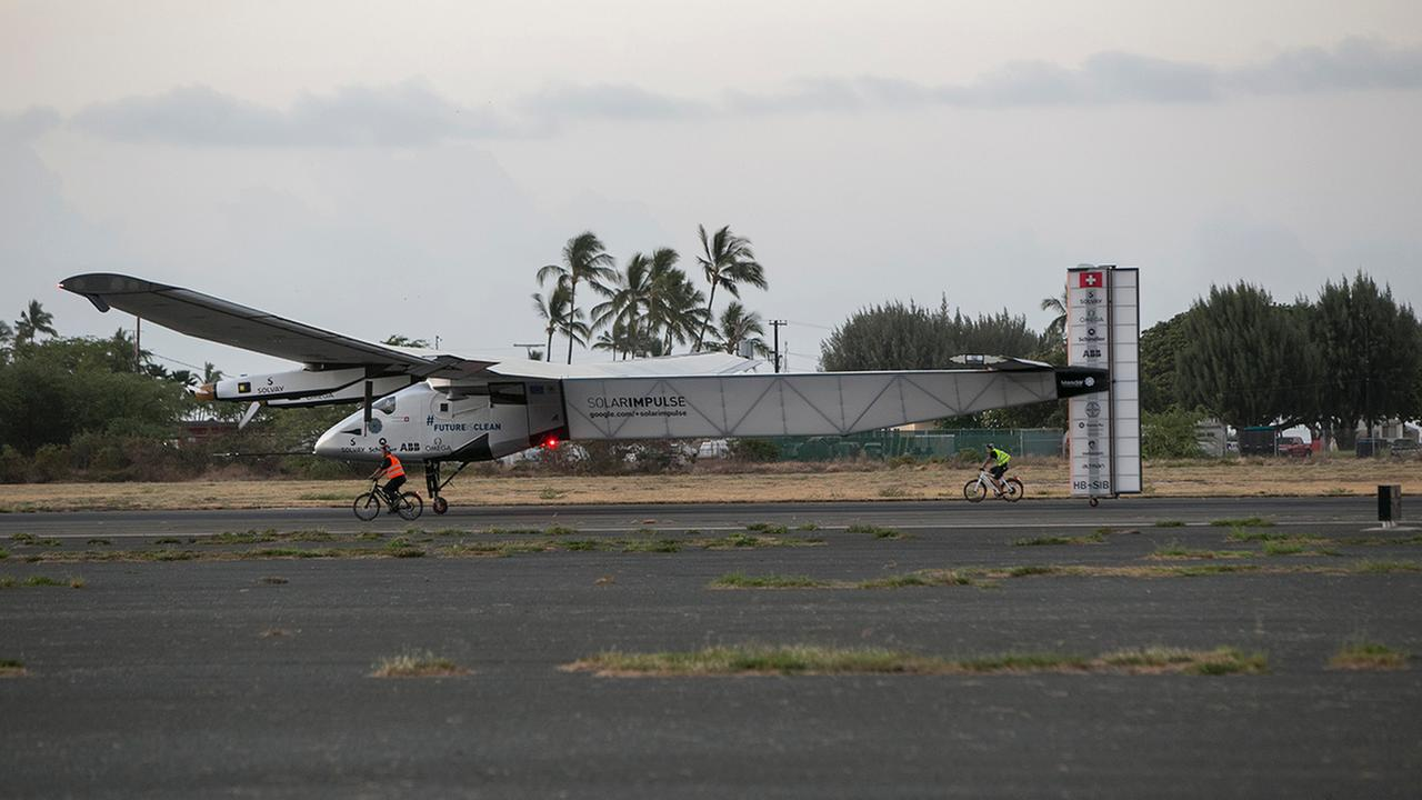 The Solar Impulse 2, a solar-powered airplane, lands at the Kalaeloa Airport, Friday, July 3, 2015 in Kapolei, HI. The plane was piloted by Andre Borschberg