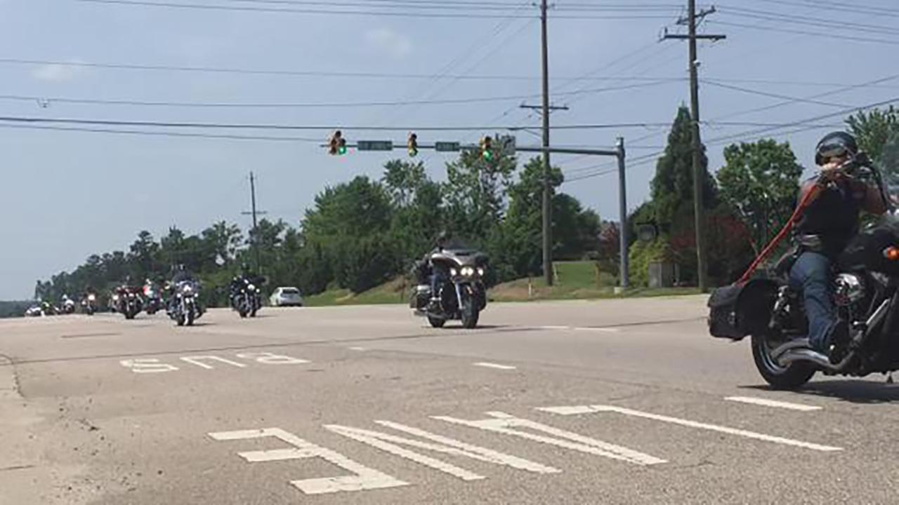 The 400 motorcycles, plus dozens of colorful Corvettes, began their journey at 10 a.m. on Bragg Boulevard.