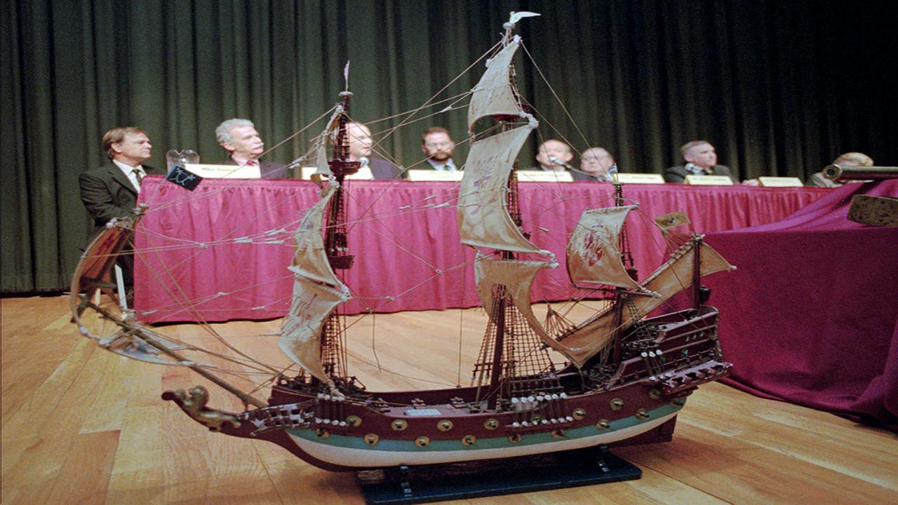 A replica of Blackbeards flagship Queen Annes Revenge rests on a stage in Raleigh
