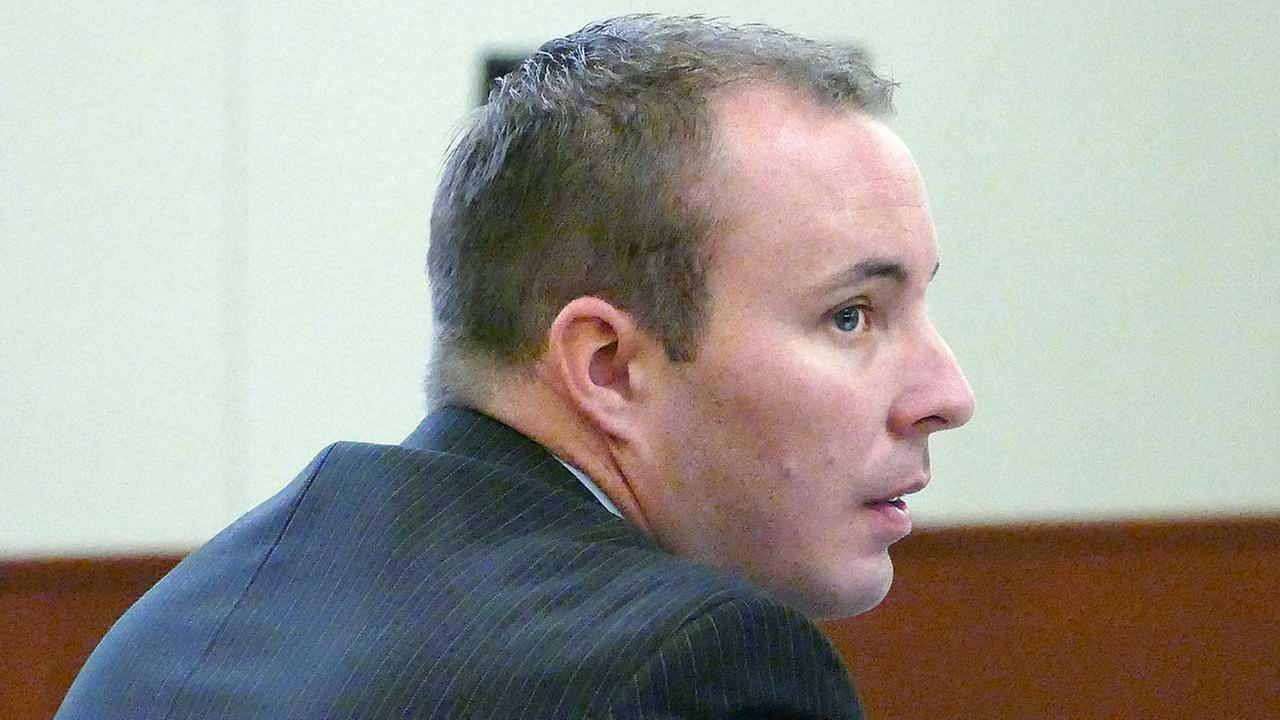 Charlotte-Mecklenburg police Officer Randall Kerrick listens to testimony during his voluntary manslaughter trial, Wednesday, Aug. 12, 2015 in Charlotte, N.C.
