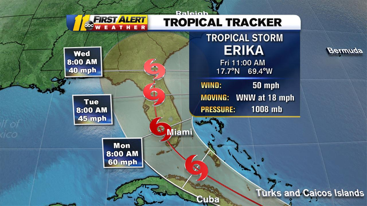 TS Erika tracker map
