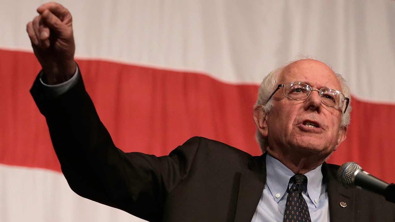 Democratic presidential candidate Bernie Sanders at a campaign rally