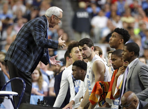 <div class='meta'><div class='origin-logo' data-origin='none'></div><span class='caption-text' data-credit=''>North Carolina head coach Roy Williams talks to his players. (AP Photo/Mark Humphrey)</span></div>
