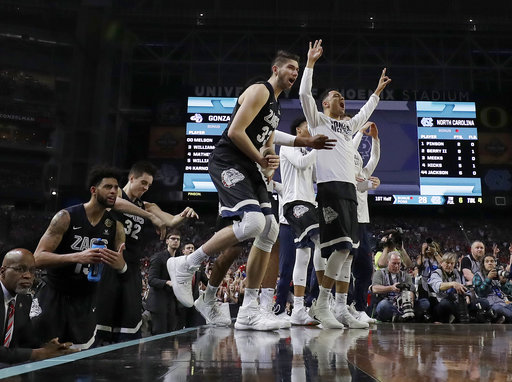 "<div class=""meta image-caption""><div class=""origin-logo origin-image none""><span>none</span></div><span class=""caption-text"">Gonzaga bench reacted to a 3-point basket. (AP Photo/David J. Phillip)</span></div>"