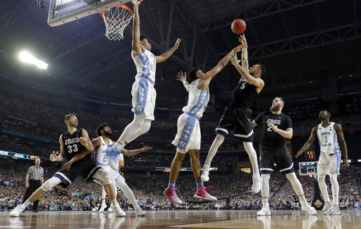 <div class='meta'><div class='origin-logo' data-origin='none'></div><span class='caption-text' data-credit=''>Gonzaga's Nigel Williams-Goss (5) takes a shot over North Carolina's Tony Bradley. (AP Photo/Mark Humphrey)</span></div>